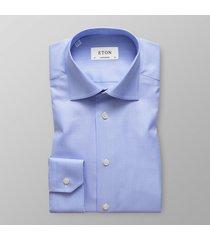 eton heren overhemd licht pied de poule stretch contemporary fit cutaway blauw