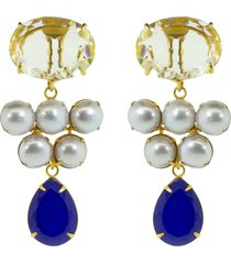 bounkit jewelry 14kt gold-plated lemon quartz earrings - blue