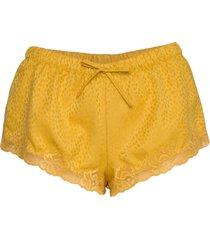 short satin jacquard spot lace shorts gul hunkemöller