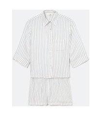 pijama americano manga curta listrado com bolso e short | lov | branco | g