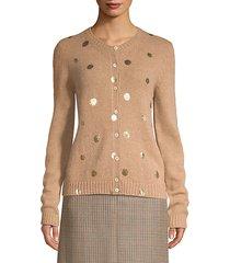 laminated polka dot wool cardigan