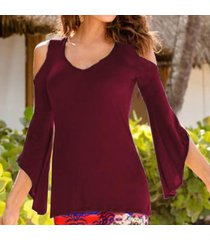zanzea mujeres hombro asimétrico de manga tops elástico blusa de la camiseta del vino rojo -rojo
