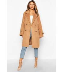 brushed wool look pocket detail coat, camel