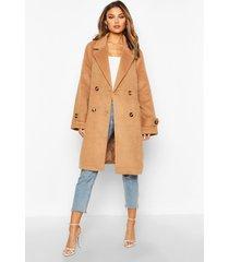 brushed wool look pocket detail coat, camel