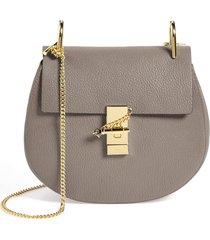 chloe drew leather shoulder bag - grey