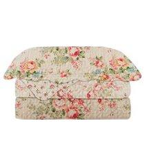 colcha solteiro camesa patchwork evolution olivia c/ porta travesseiro bege