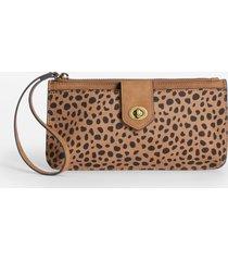 maurices womens cheetah print turn lock wristlet brown