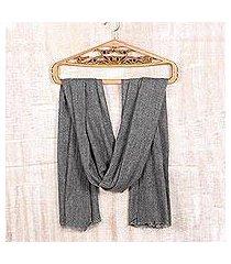 wool shawl, 'graphite grey allure' (india)