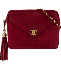 chanel pre-owned 1992's mademoiselle fringe chain shoulder bag - red