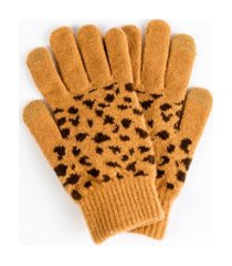 leopard print knit touchscreen glove with cozy lining