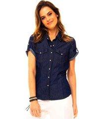 camisa jeans manga curta sob com bolsos feminina