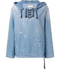 saint laurent distressed denim hoodie - blue