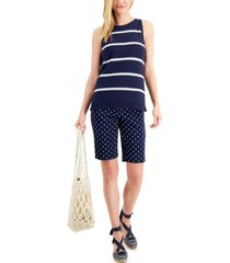 charter club petite sleeveless striped sweater, created for macy's