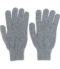 paul smith fitted knitted gloves - grey