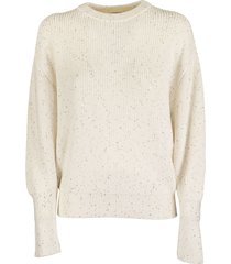 brunello cucinelli crewneck sweater cotton and silk half english rib dazzling tweed