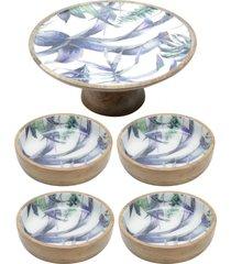 conjunto flower com prato para bolo e 4 bowls de madeira bon gourmet azul/branco - azul/branco - dafiti