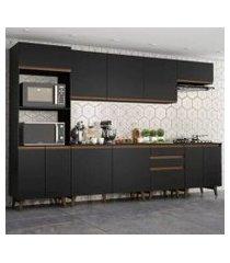 cozinha completa madesa reims 320002 com armário e balcão - preto preto