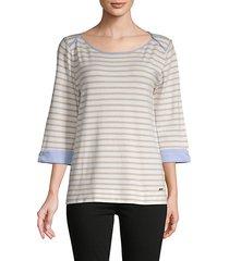striped folded-cuff pullover