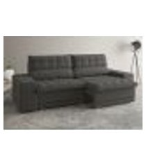 sofá 5 lugares net carmel assento retrátil e reclinável cinza 2,50m