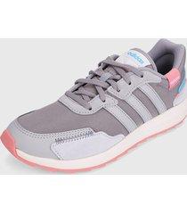 tenis lifestyle gris-rosa-azul adidas performance retrorun