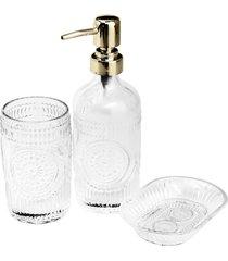 conjunto de 3 peças de vidro para banheiro armênia dourad