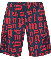 palm angels logo-print swim shorts - blue