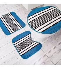 jogo de tapetes para banheiro tapetes junior onix pop em polipropileno azul turquesa 3 peças