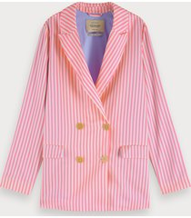 scotch & soda roze en wit gestreepte blazer