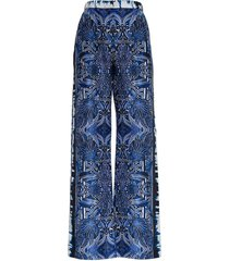 alberta ferretti straight leg pattern printed trousers