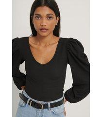 trendyol blus med djup v-ringning - black
