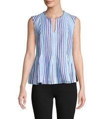 striped sleeveless linen peplum top