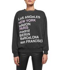 women's anine bing city love sweatshirt, size large - grey