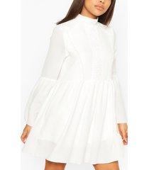 petite gehaakte gesmokte jurk, wit