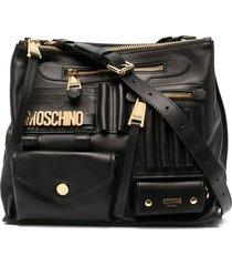 moschino multi-pocket logo shoulder bag - black