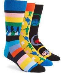 men's happy socks the beatles encore edition 3-pack sock gift set, size one size - black