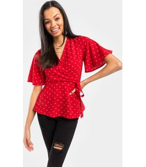 avery heart wrap blouse - red