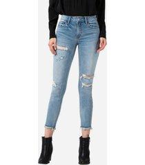 vervet women's high rise distressed fray hem skinny crop jeans