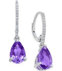 amethyst (2 ct. t.w.) and diamond (1/10 ct. t.w.) drop earrings in 14k white gold