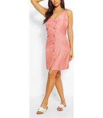 chambray jurk met bandjes en knoopjes aan de voorkant, roze