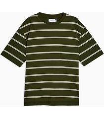 mens khaki and ecru boxy stripe t-shirt