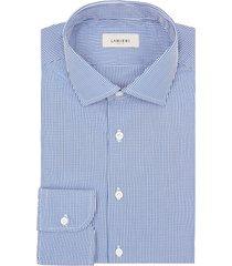 camicia da uomo su misura, ibieffe, cotone popeline quadri blu, quattro stagioni | lanieri