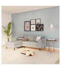 sofá 3 lugares surprised com chaise esquerdo pé palito linho cotton cru