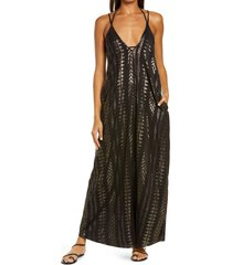 elan cover-up maxi slipdress, size x-small in black/gold at nordstrom