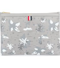 thom browne zip-up clutch bag - grey