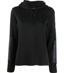 rossignol iridescent elbow patch hooded sweatshirt - black