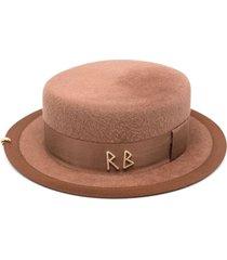 ruslan baginskiy pearls embellished canotier hat