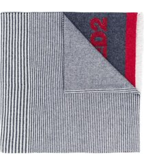 dsquared2 contrast panel logo knit scarf - blue