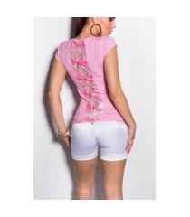 sexy shirt met kant en luss roze