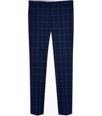 mens blue navy super skinny fit windowpane check suit pants