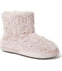 dearfoams women's leah marled chenille knit bootie slippers